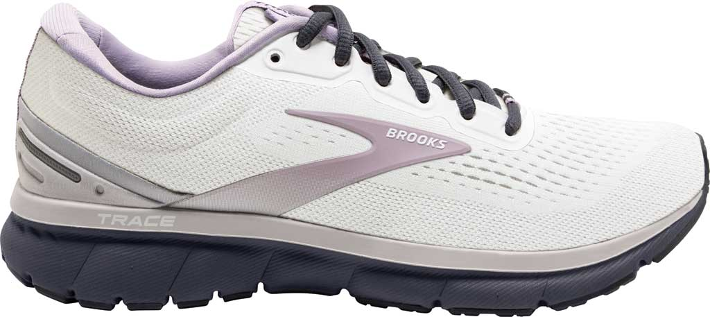 Women's Brooks Trace Running Sneaker, White/Grey/Ombre Blue, large, image 2