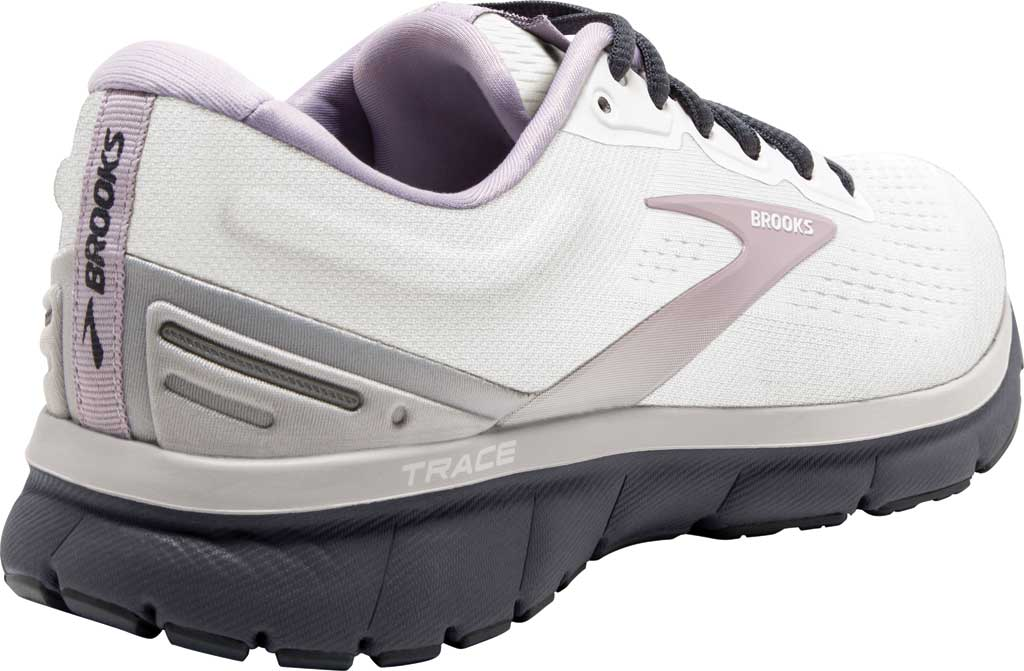 Women's Brooks Trace Running Sneaker, White/Grey/Ombre Blue, large, image 4