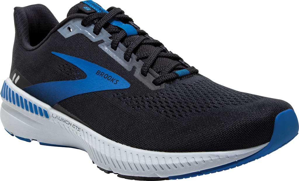 Men's Brooks Launch GTS 8 Running Sneaker, Black/Grey/Blue, large, image 1