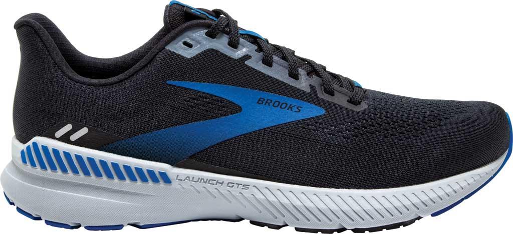 Men's Brooks Launch GTS 8 Running Sneaker, Black/Grey/Blue, large, image 2