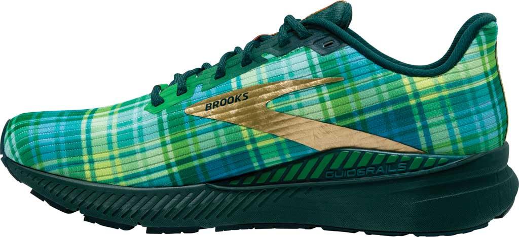 Men's Brooks Launch GTS 8 Running Sneaker, Fern Green/Metallic Gold/Deep Teal, large, image 3