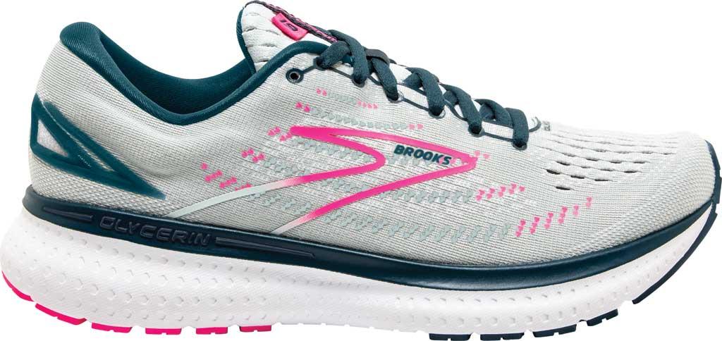 Women's Brooks Glycerin 19 Running Sneaker, Ice Flow/Navy/Pink, large, image 2