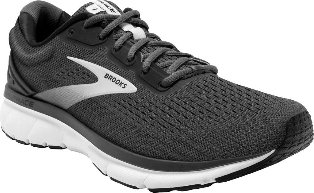 Men's Brooks Trace Running Sneaker, Black/Blackened Pearl/Grey, large, image 1
