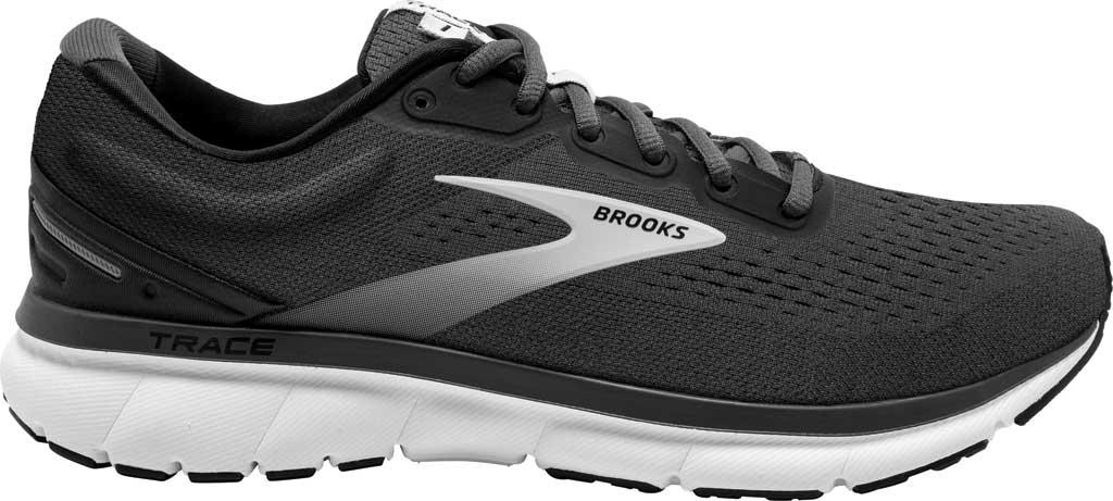 Men's Brooks Trace Running Sneaker, Black/Blackened Pearl/Grey, large, image 2