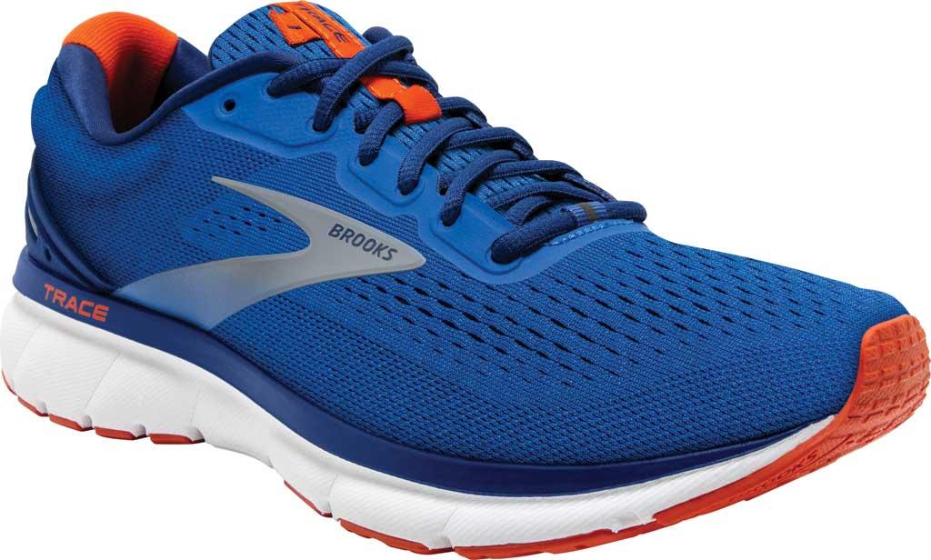 Men's Brooks Trace Running Sneaker, Blue/Navy/Orange, large, image 1
