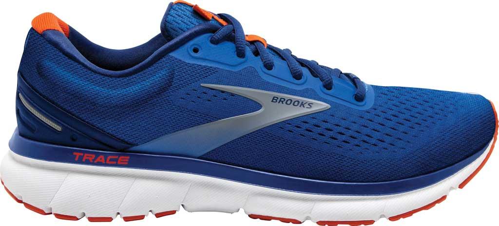 Men's Brooks Trace Running Sneaker, Blue/Navy/Orange, large, image 2