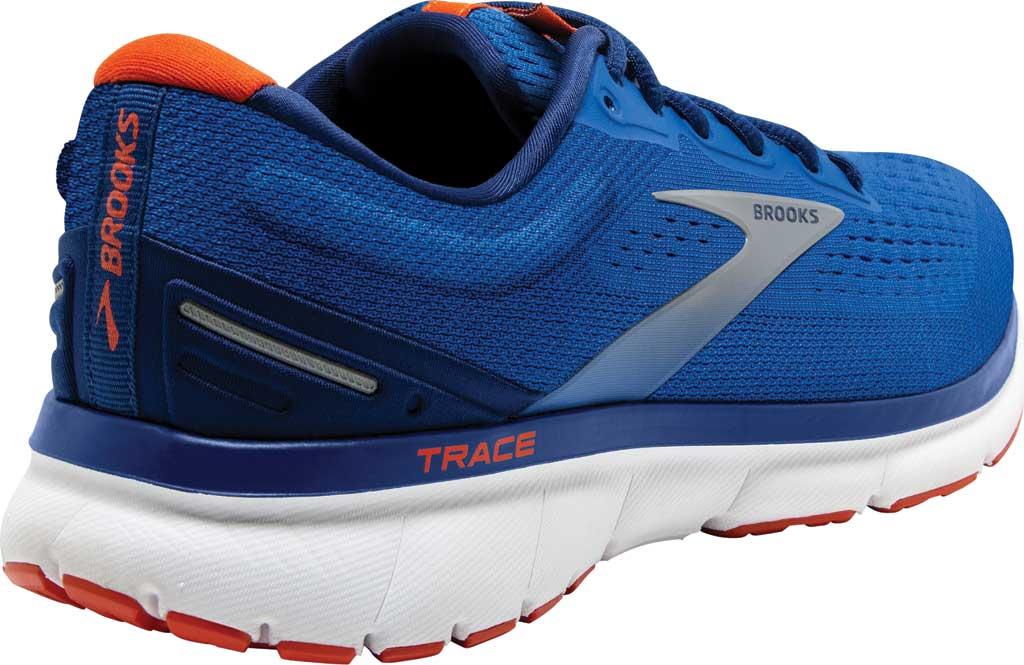 Men's Brooks Trace Running Sneaker, Blue/Navy/Orange, large, image 4