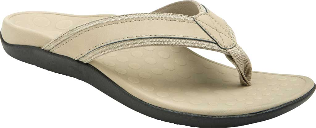 Men's Vionic Tide Toe Post Sandal, Taupe Full Grain Leather, large, image 1