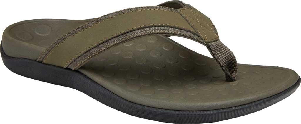 Men's Vionic Tide Toe Post Sandal, Olive Leather, large, image 1