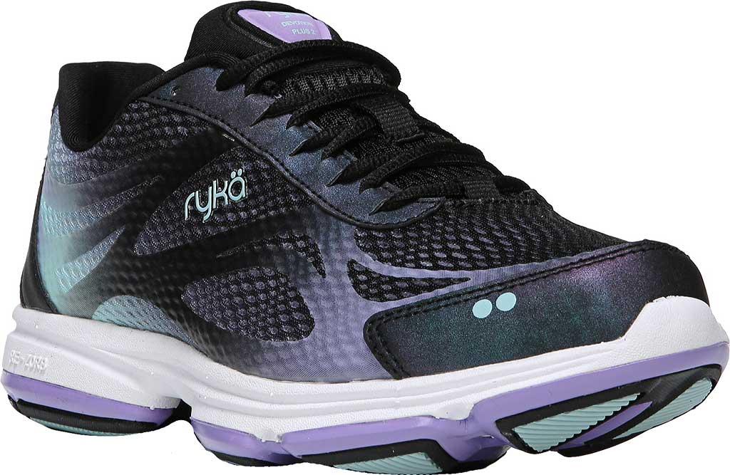 Women's Ryka Devotion Plus 2 Walking Shoe, Black/Purple Ice/Eggshell Blue, large, image 1