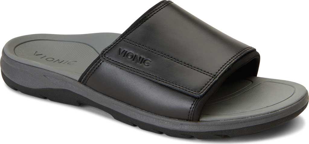 Men's Vionic Stanley Slide, Black Full Grain Leather, large, image 1