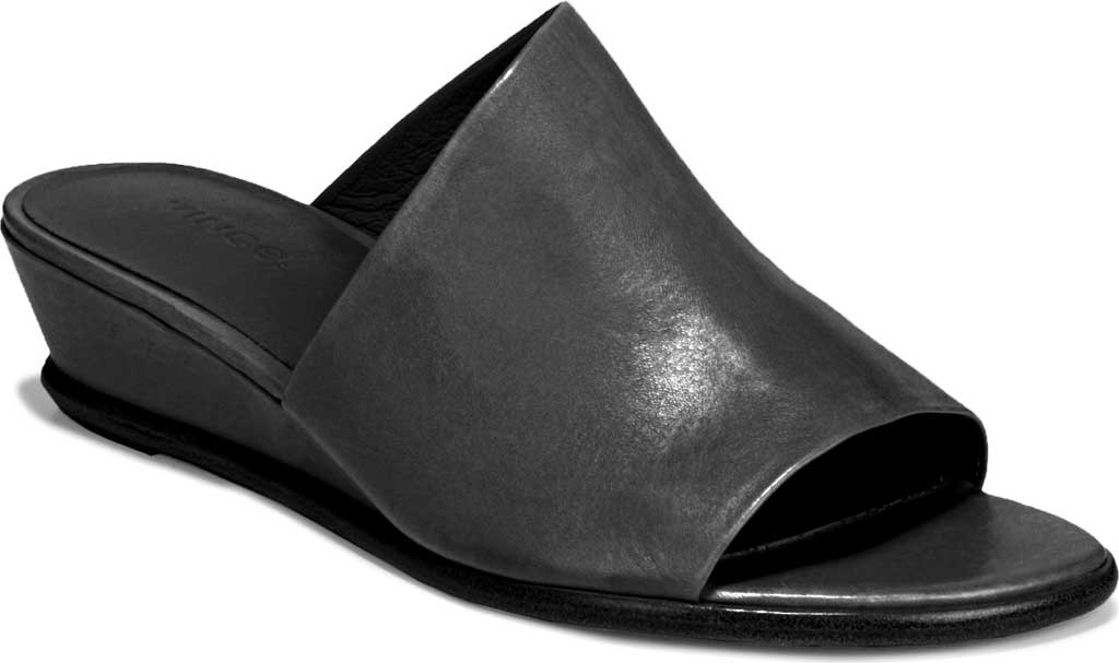 Women's Vince Duvall Wedge Leather Sandal, Black Memory Leather, large, image 1