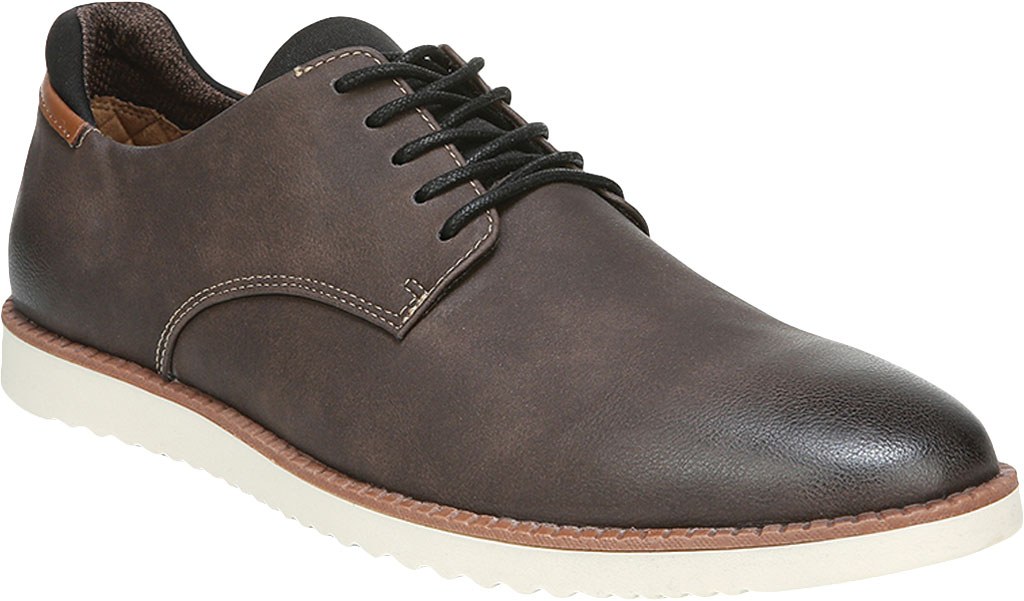 Men's Dr. Scholl's Sync Plain Toe Oxford, Dark Brown Fearless Synthetic Leather, large, image 1
