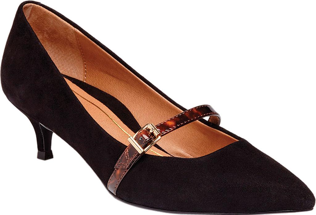 Women's Vionic Minnie Kitten Heel Shoe, Black Tortoise Kid Suede, large, image 1