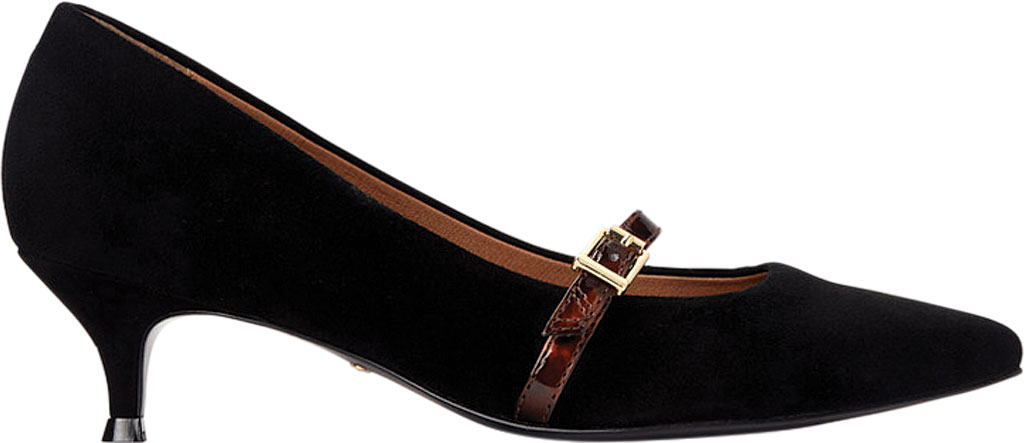 Women's Vionic Minnie Kitten Heel Shoe, Black Tortoise Kid Suede, large, image 2