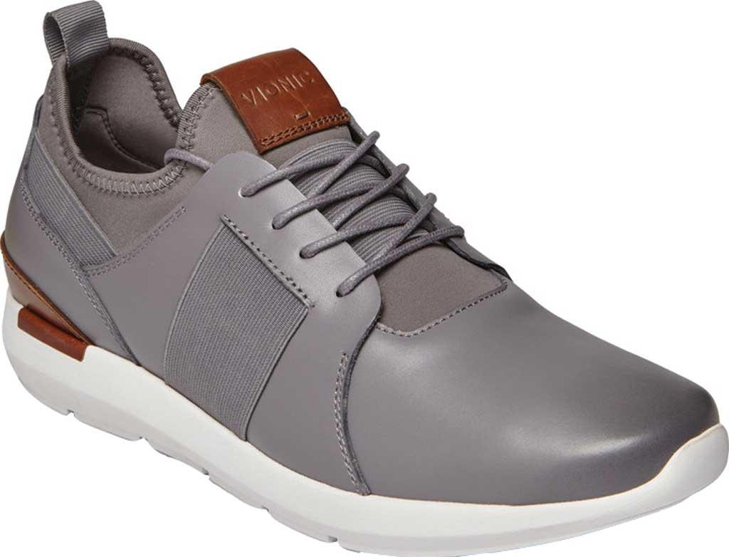 Men's Vionic Caleb Sneaker, Grey Leather/Neoprene, large, image 1