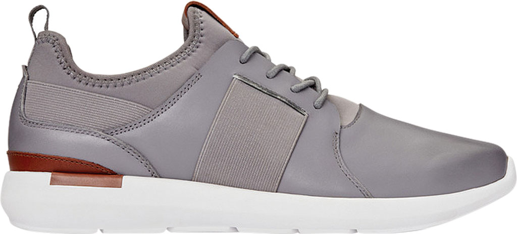 Men's Vionic Caleb Sneaker, Grey Leather/Neoprene, large, image 2
