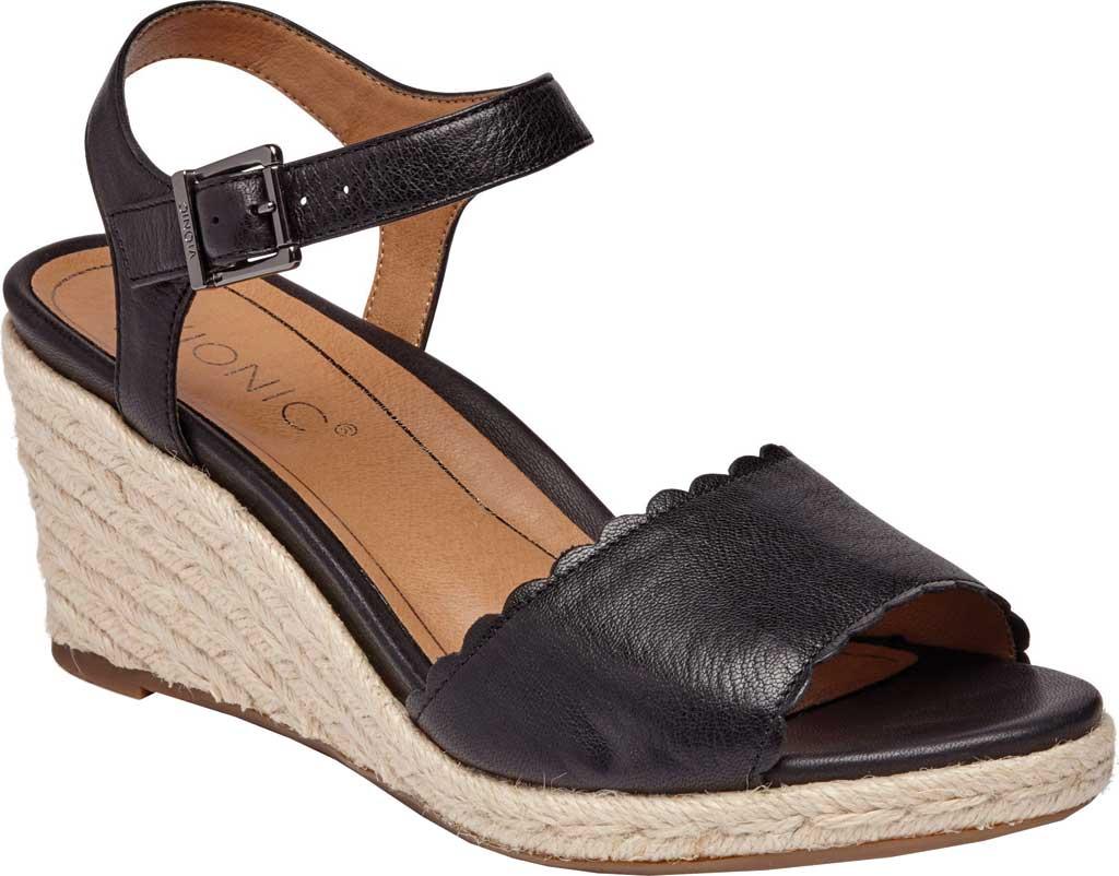 Women's Vionic Stephany Wedge Sandal, Black Nappa Leather, large, image 1