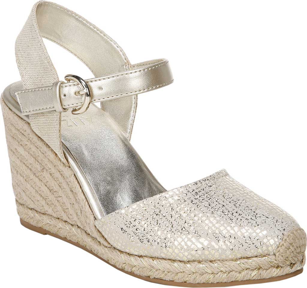 Women's Naturalizer Phebe Espadrille Wedge Sandal, Gold Wash Leather, large, image 1