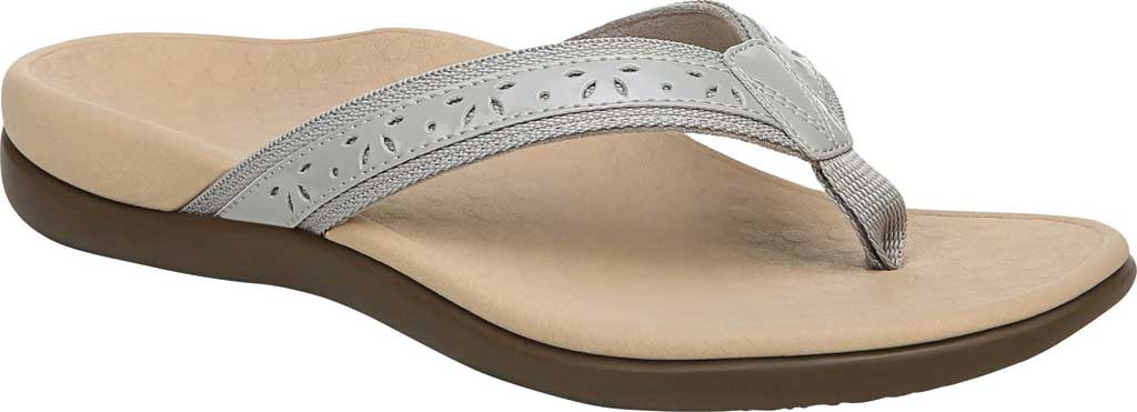 Women's Vionic Casandra Thong Sandal, Light Grey Leather, large, image 1