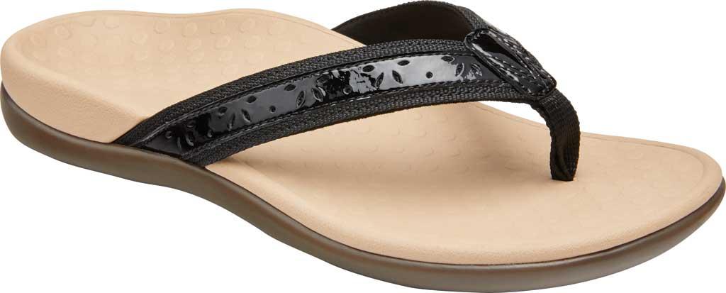 Women's Vionic Casandra Thong Sandal, Black Leather, large, image 1