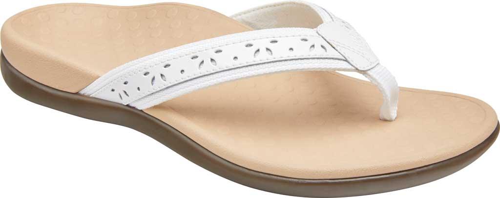 Women's Vionic Casandra Thong Sandal, White Leather, large, image 1