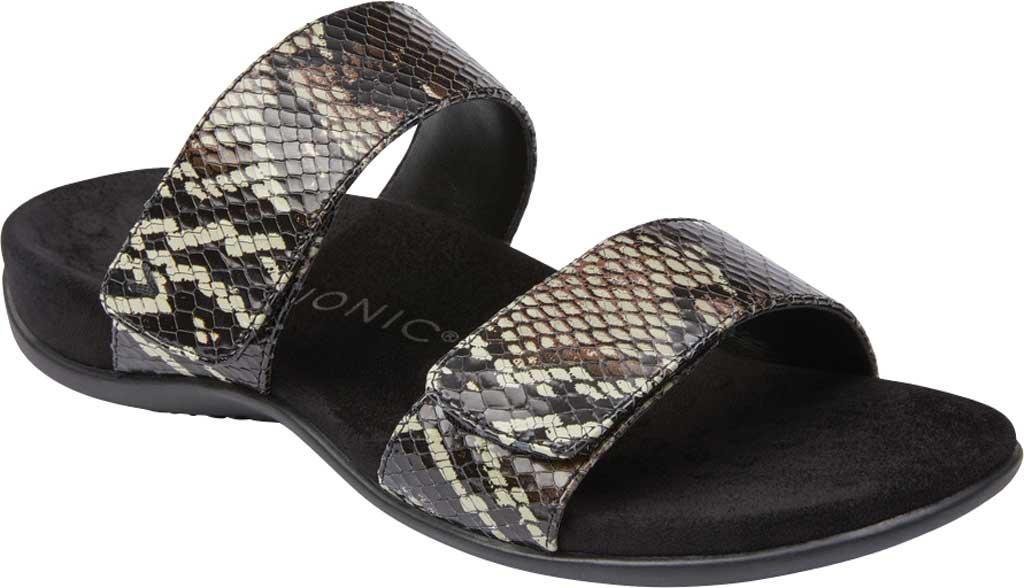 Women's Vionic Randi Two Strap Slide, Black Boa Leather, large, image 1