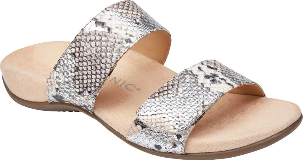 Women's Vionic Randi Two Strap Slide, Silver Boa Metallic Leather, large, image 1