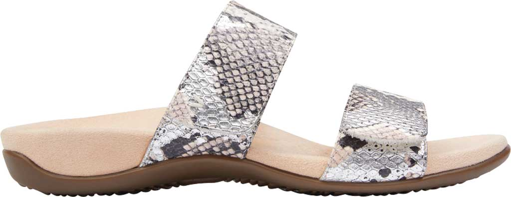 Women's Vionic Randi Two Strap Slide, Silver Boa Metallic Leather, large, image 2