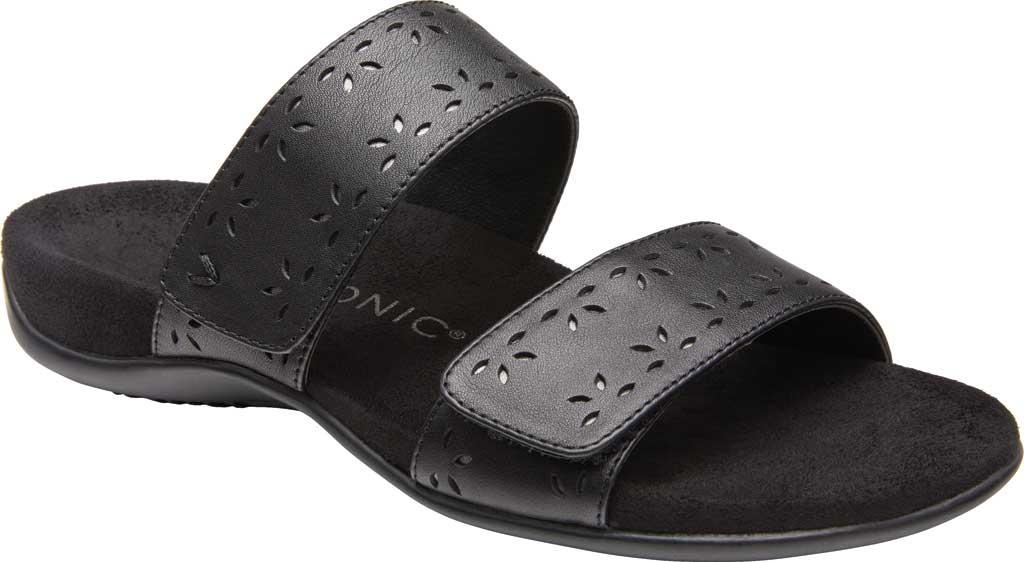 Women's Vionic Randi Two Strap Slide, Black Leather, large, image 1