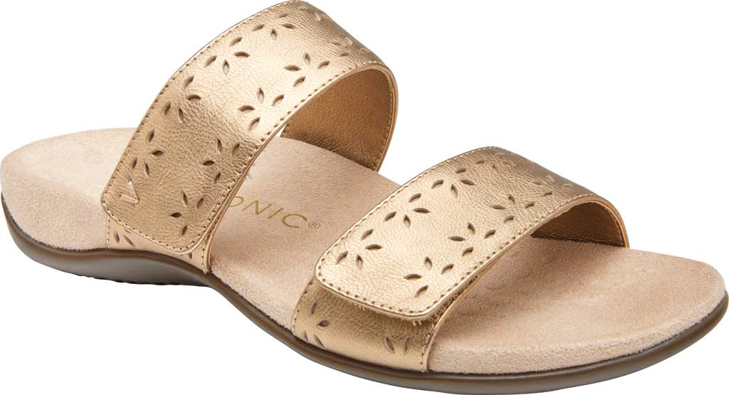 Women's Vionic Randi Two Strap Slide, Gold Metallic Leather, large, image 1