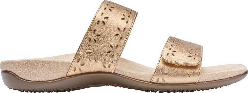 Women's Vionic Randi Two Strap Slide, Gold Metallic Leather, large, image 2