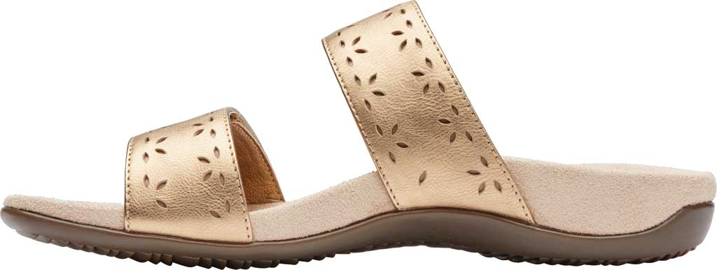 Women's Vionic Randi Two Strap Slide, Gold Metallic Leather, large, image 3