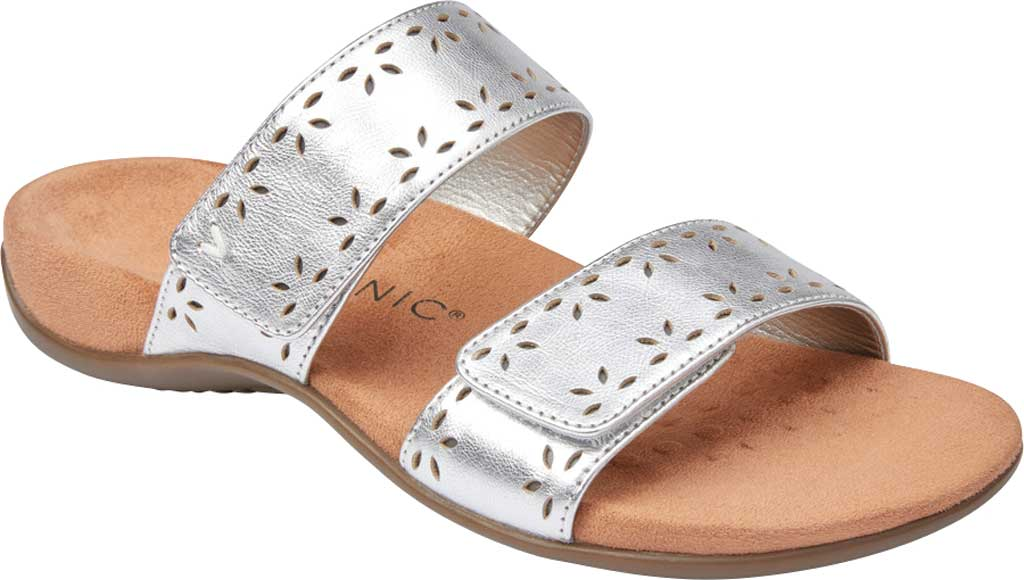 Women's Vionic Randi Two Strap Slide, Silver Metallic Leather, large, image 1