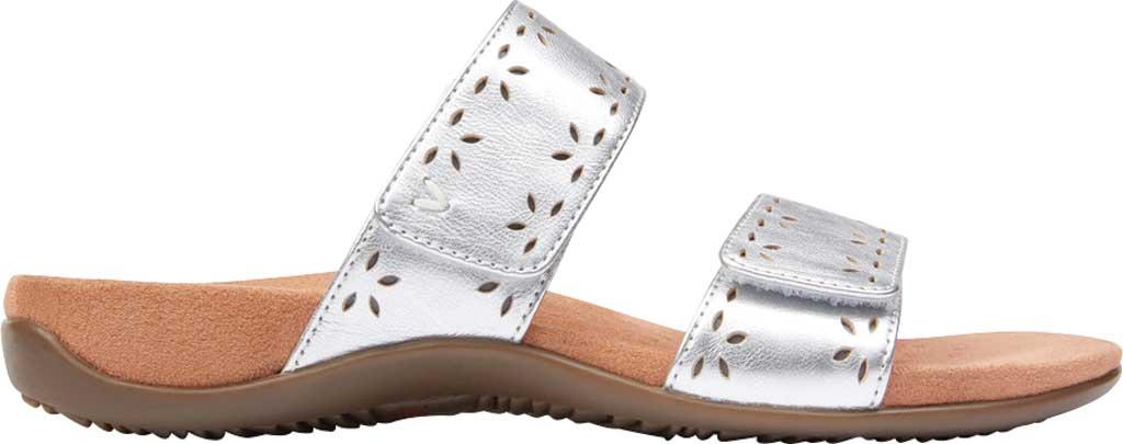 Women's Vionic Randi Two Strap Slide, Silver Metallic Leather, large, image 2