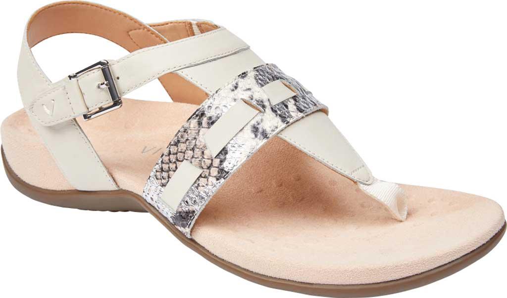 Women's Vionic Lupe Thong Sandal, Cream Boa Metallic Leather, large, image 1