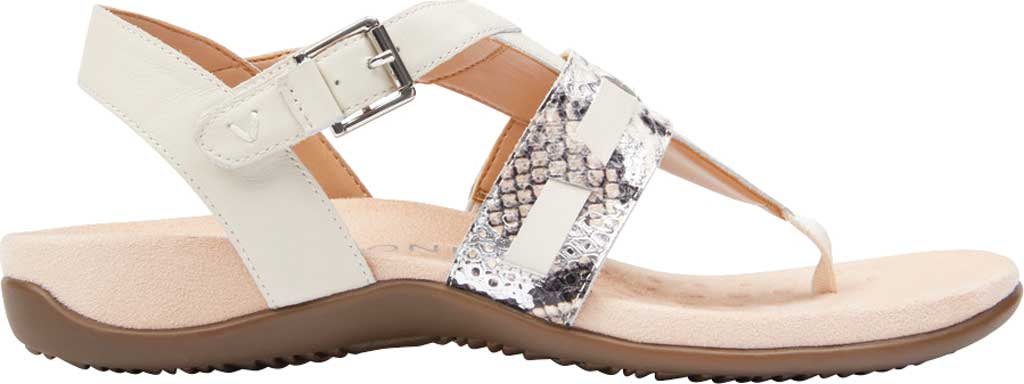 Women's Vionic Lupe Thong Sandal, Cream Boa Metallic Leather, large, image 2