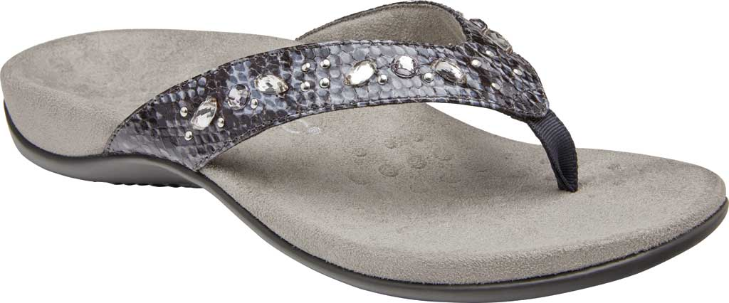 Women's Vionic Lucia Thong Sandal, Slate Grey Snake Skin Synthetic, large, image 1