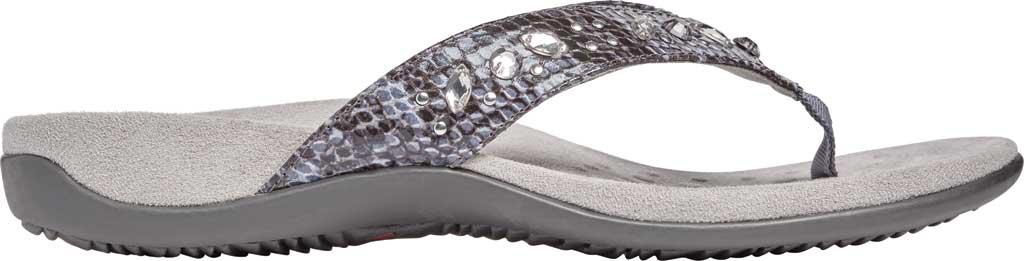 Women's Vionic Lucia Thong Sandal, Slate Grey Snake Skin Synthetic, large, image 2