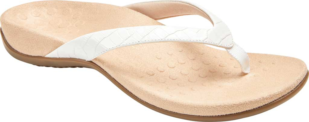 Women's Vionic Dillon Thong Sandal, White Croco Leather, large, image 1