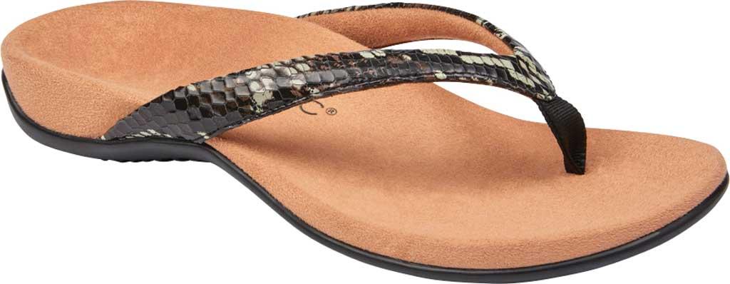 Women's Vionic Dillon Thong Sandal, Black Boa Leather, large, image 1