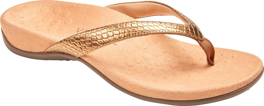 Women's Vionic Dillon Thong Sandal, Copper Snake Metallic Leather, large, image 1