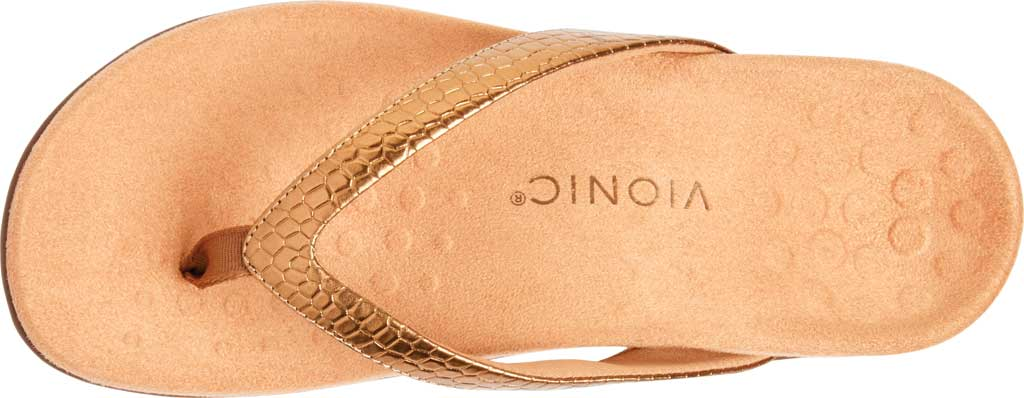 Women's Vionic Dillon Thong Sandal, Copper Snake Metallic Leather, large, image 5