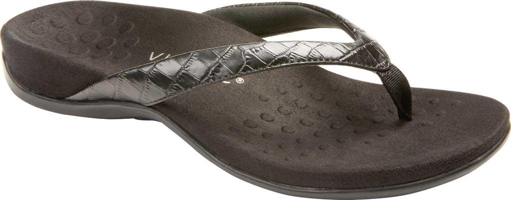 Women's Vionic Dillon Thong Sandal, Black Croco Leather, large, image 1