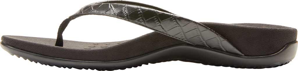 Women's Vionic Dillon Thong Sandal, Black Croco Leather, large, image 3
