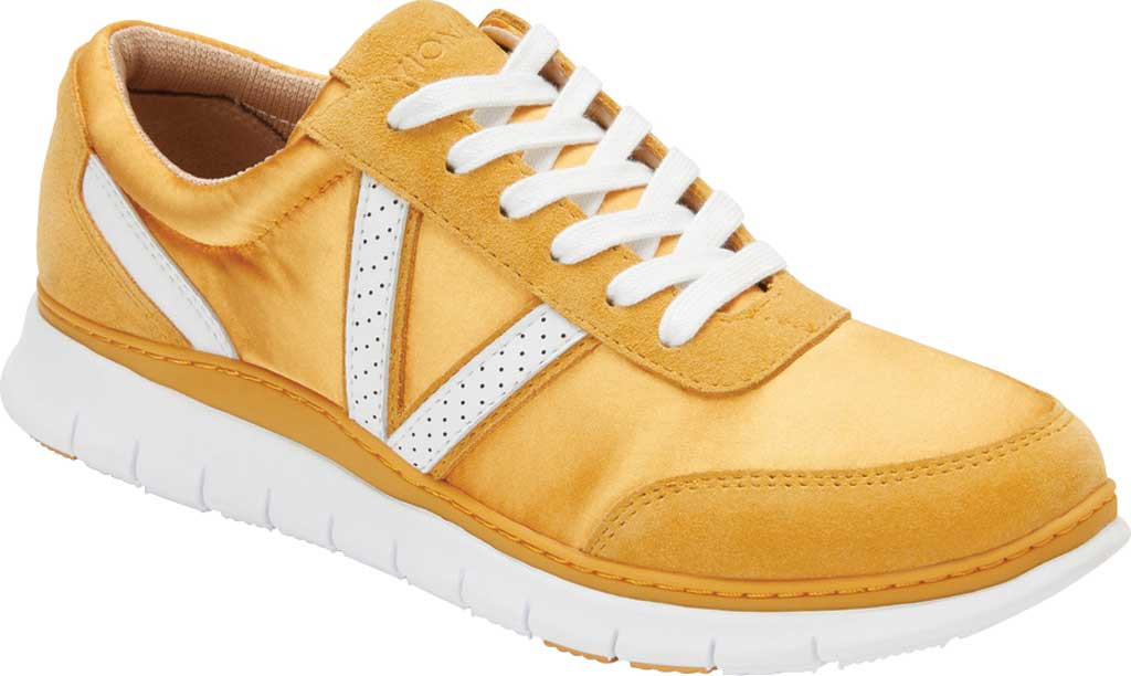 Women's Vionic Nana Lace Up Sneaker, Mustard Satin/Suede, large, image 1