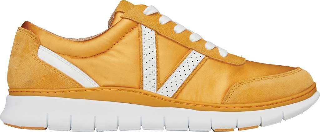 Women's Vionic Nana Lace Up Sneaker, Mustard Satin/Suede, large, image 2