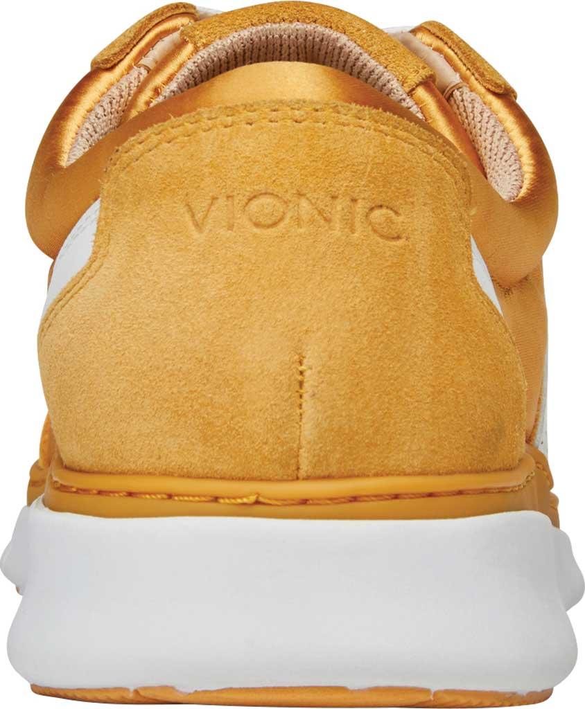Women's Vionic Nana Lace Up Sneaker, Mustard Satin/Suede, large, image 4