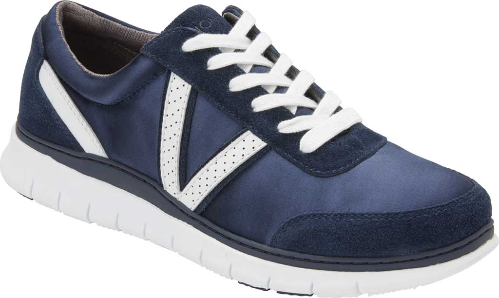 Women's Vionic Nana Lace Up Sneaker, Navy Satin/Suede, large, image 1