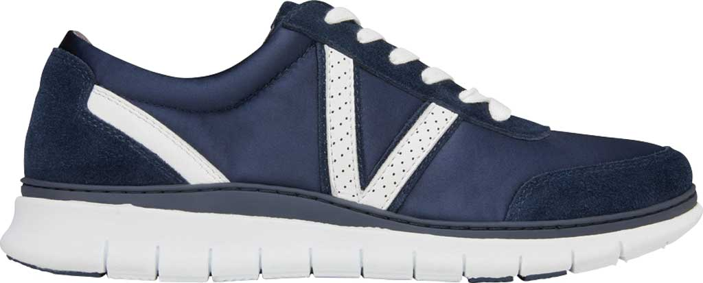 Women's Vionic Nana Lace Up Sneaker, Navy Satin/Suede, large, image 2
